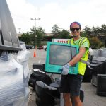 Collecting TVs to be recycled